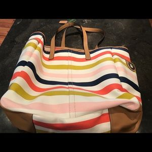 Coach oversized striped tote, beach bag, carry on.